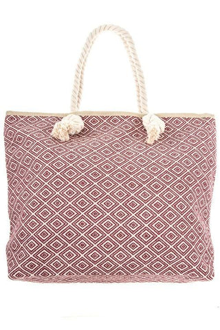 Red Tribal Diamond Pattern Tote Bag