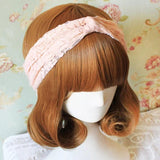 Riley Pink Lace Knotted Headband - Biology Boutique