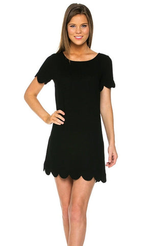 Kensie Scallop Dress in Black - Biology Boutique