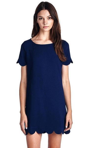 Kensie Scallop Dress in Navy - Biology Boutique