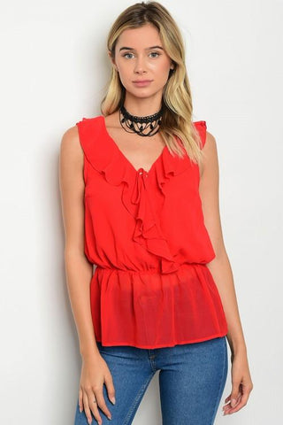 Sleeveless Ruffle Chiffon Blouse