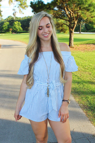 Striped Linen Romper - Biology Boutique