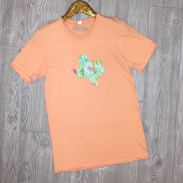 Texas Cactus Peach Short Sleeve Tee - Biology Boutique