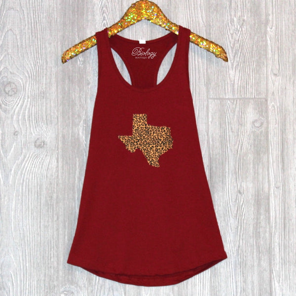 Texas Maroon Leopard Tank - Biology Boutique