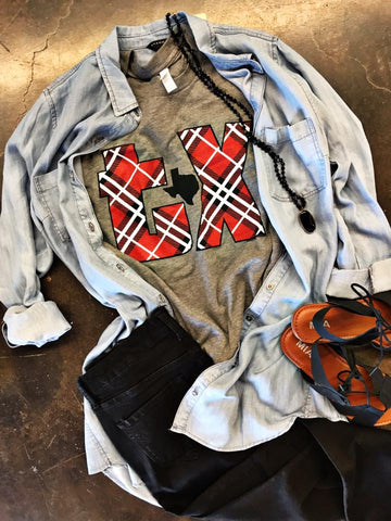 Texas Plaid Tee - Biology Boutique
