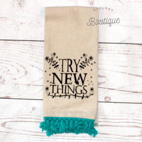 Try New Things Linen Hand Towel - Biology Boutique