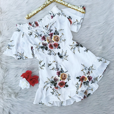 White Floral Off The Shoulder Romper - Biology Boutique