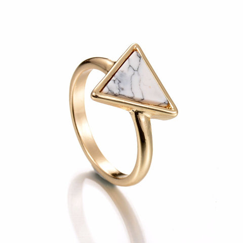 Delicate White Marble Triangle Ring - Biology Boutique
