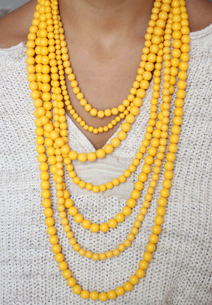 Yellow Stranded Necklace - Biology Boutique