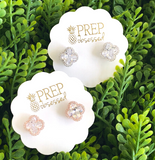 Signature Cubic Zirconia Clover Halo Studs - Biology Boutique