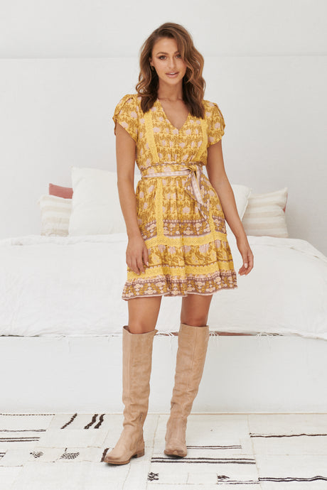 JAASE Abio Mini Dress Tumeric