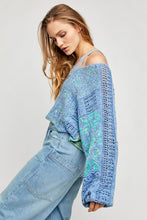 Free People Mosaic V-Neck Knit Pullover Rain Song