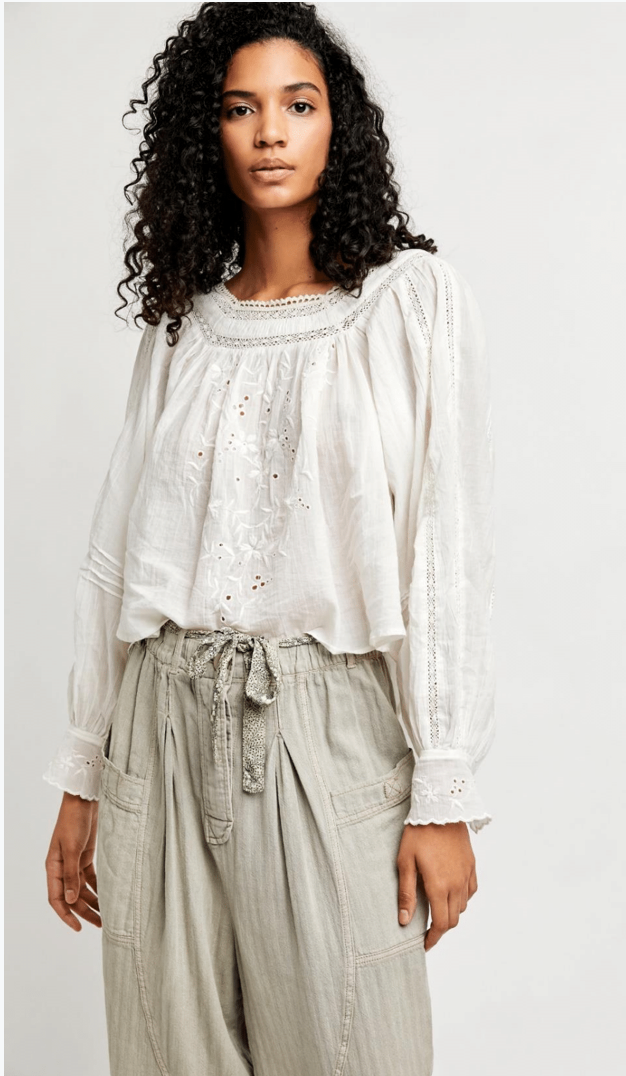 FREE PEOPLE ~ Faraway Fields Top Ivory