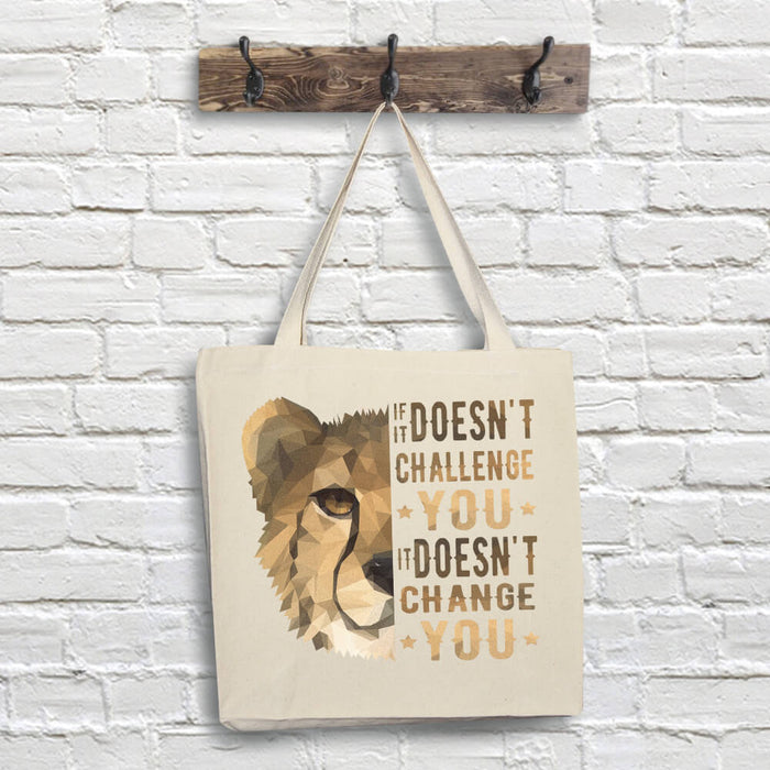 Cheetah Tote Bag - Challenge Quote
