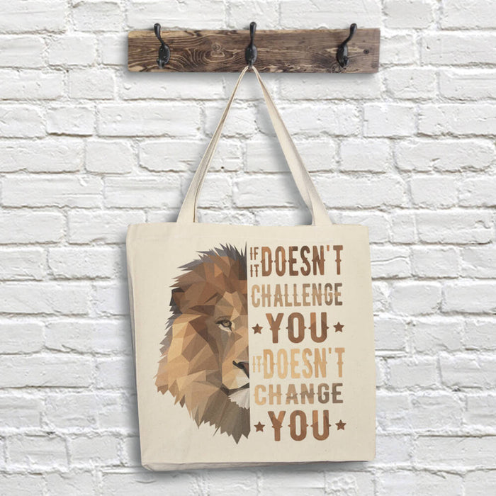 Lion Tote Bag - Challenge Quote