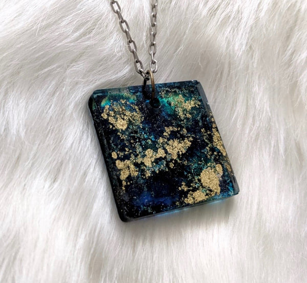 Golden Sea Inkblot Pendant