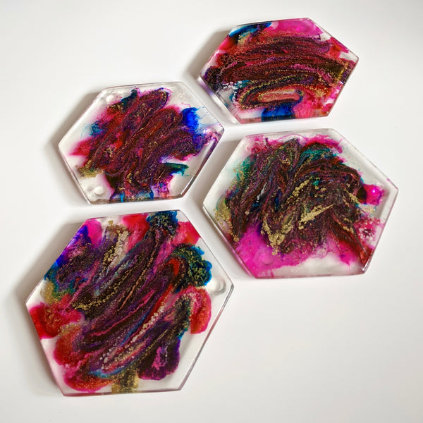 Handmade Resin Coaster Set