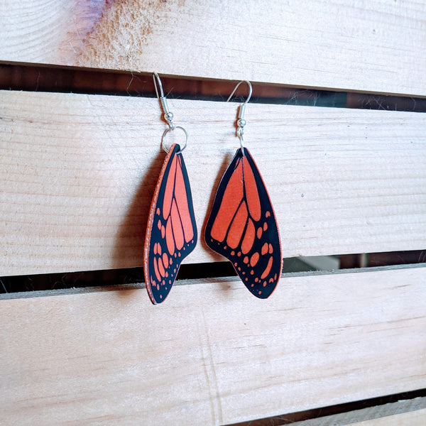 Faux Leather Monarch Earrings