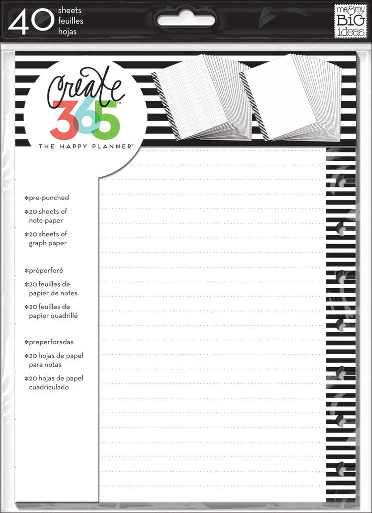 MAMBI Classic Happy Planner Lined NOTE & GRAPH paper planner inserts, 20 sheets each