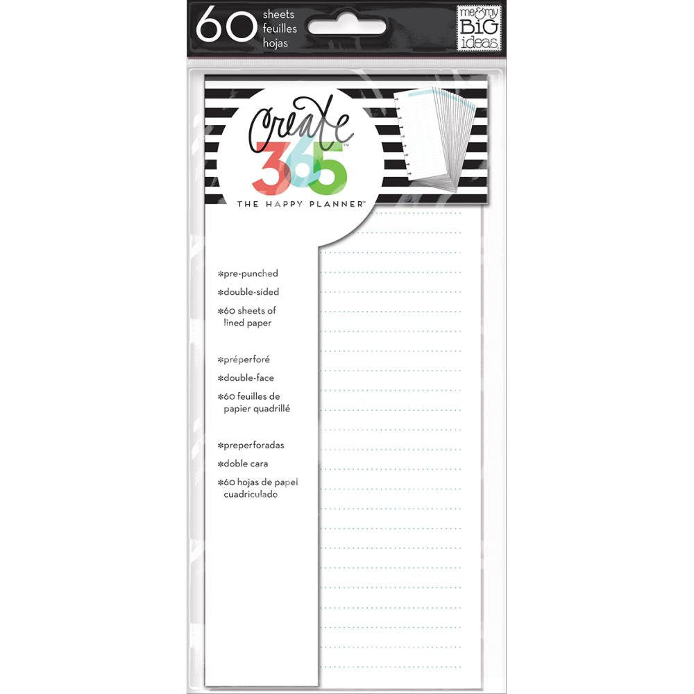 MAMBI Classic Happy Planner Half Sheet Note Paper inserts, 60 lined sheets, double sided