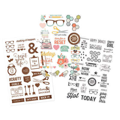 The Reset Girl Carpe Diem Clear Planner Stickers, 88 Stickers