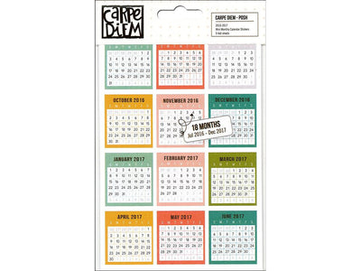 Posh 18 Month Mini Monthly Calendar Stickers, 108 Stickers