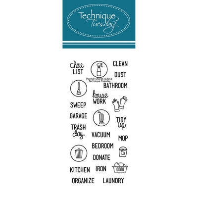 CHORES Clear Planner Stamps by Technique Tuesday
