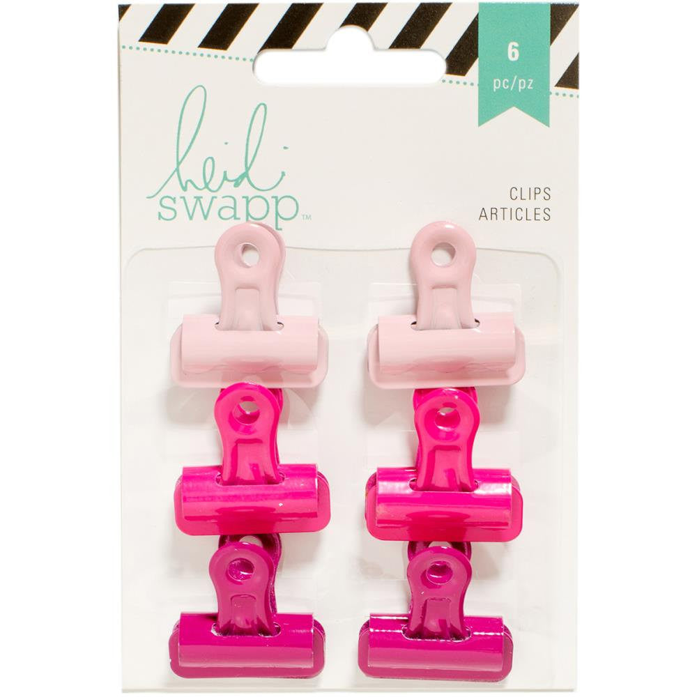PINK OMBRE Heidi Swapp Bulldog Clips 1 inch (6 pieces)