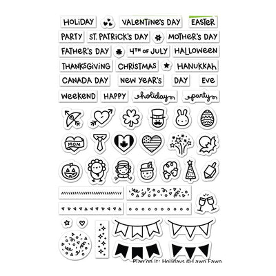Lawn Fawn PLAN on IT HOLIDAYS Clear Planner Stamps