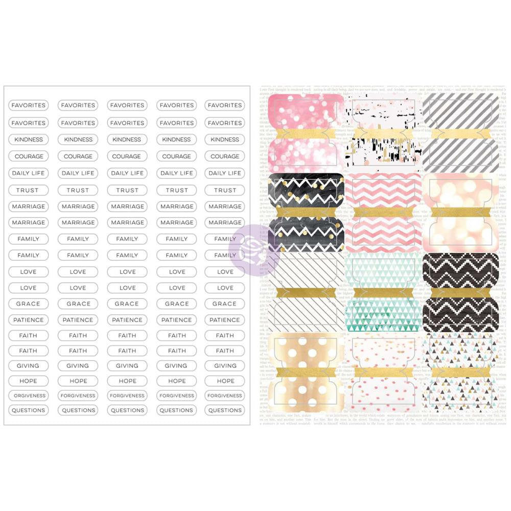 Prima Love, Faith, Scrap Planner Divider Tabs & Labels 12/Pkg