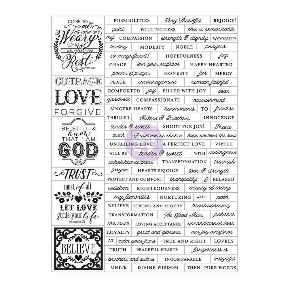 Prima Planner Love, Faith, Scrap Word Label Bible Verse Stickers