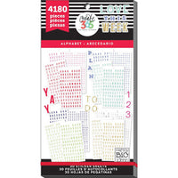 4,180 ALPHABET & NUMBERS MAMBI Happy Planner Stickers Value Sticker Book