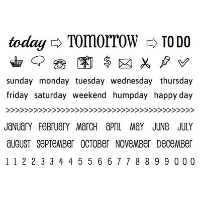 SRM Press ToDAY, TOMORROW, TODO Calendar Planner Stamps