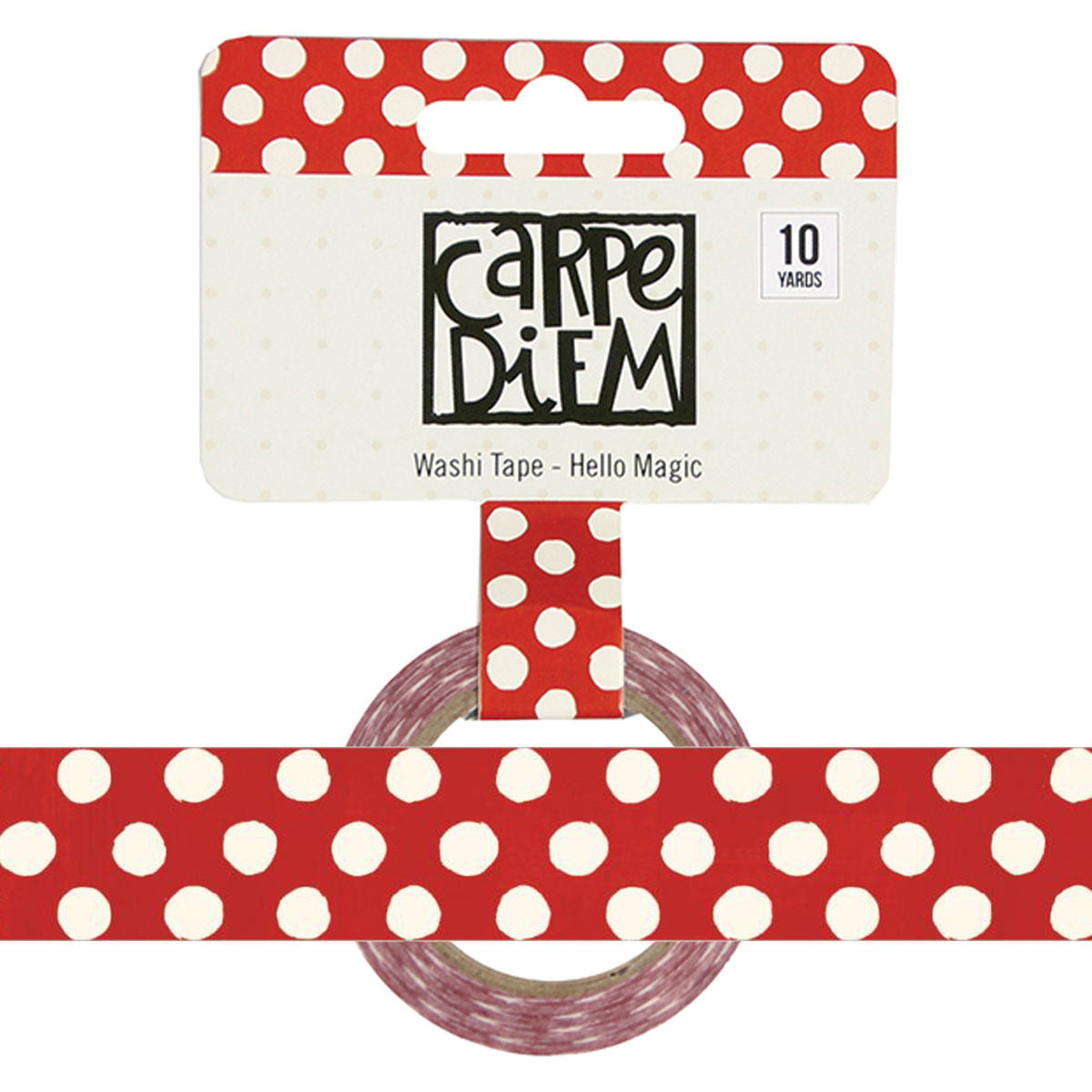 Say Cheese HELLO MAGIC Red Polkadot Carpe Diem Washi Tape, 15mm x 10 yards