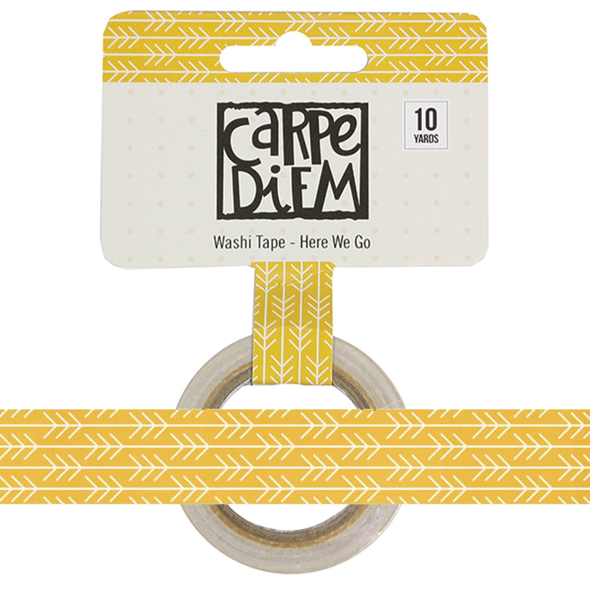 Say Cheese HERE WE GO Yellow Arrow Carpe Diem Washi, 15mm x 10 yards