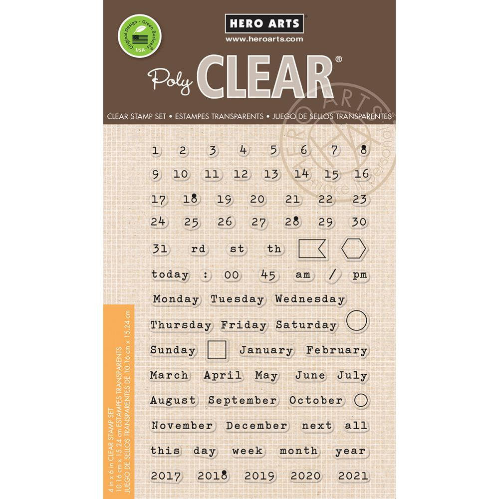 Hero Arts CALENDAR Clear Planner Stamps