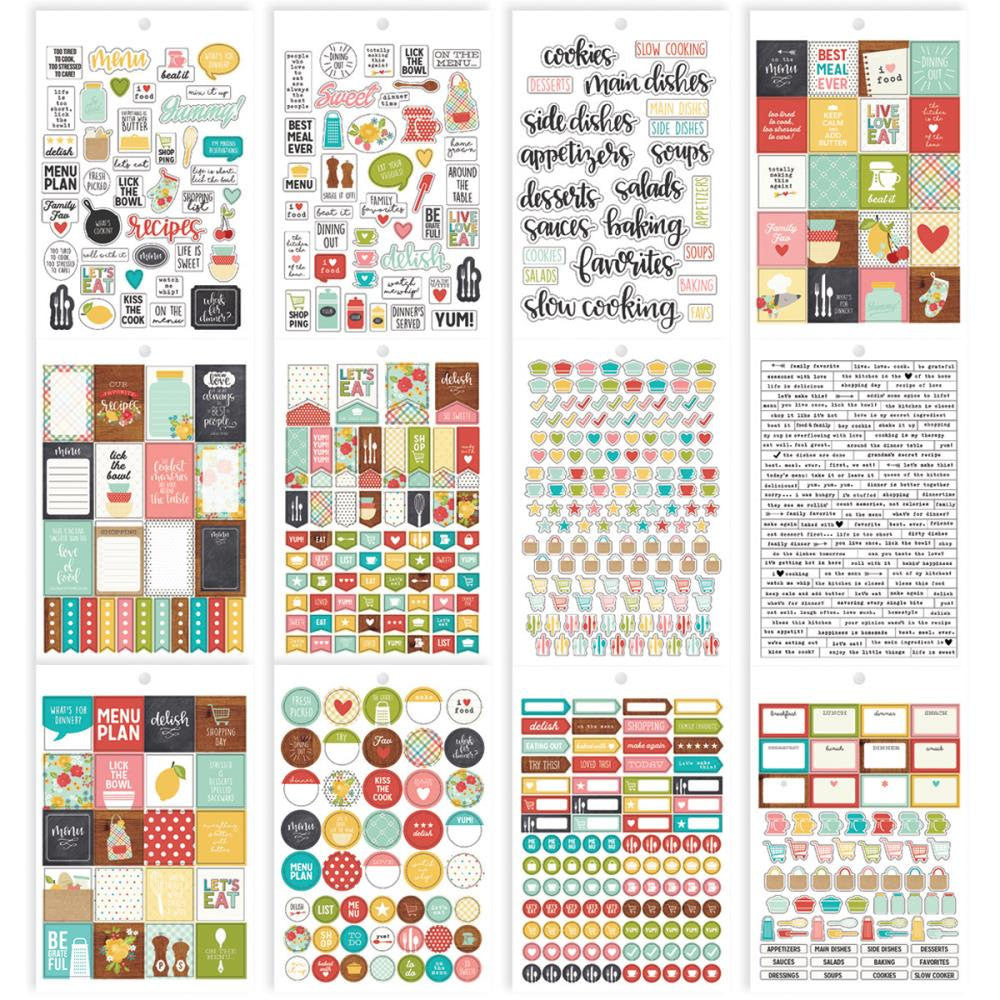 RECIPE Carpe Diem Planner Sticker Book, 706 planner stickers including Quotes, Boxes, Icons, Flags, Checklists, & Word Label Stickers