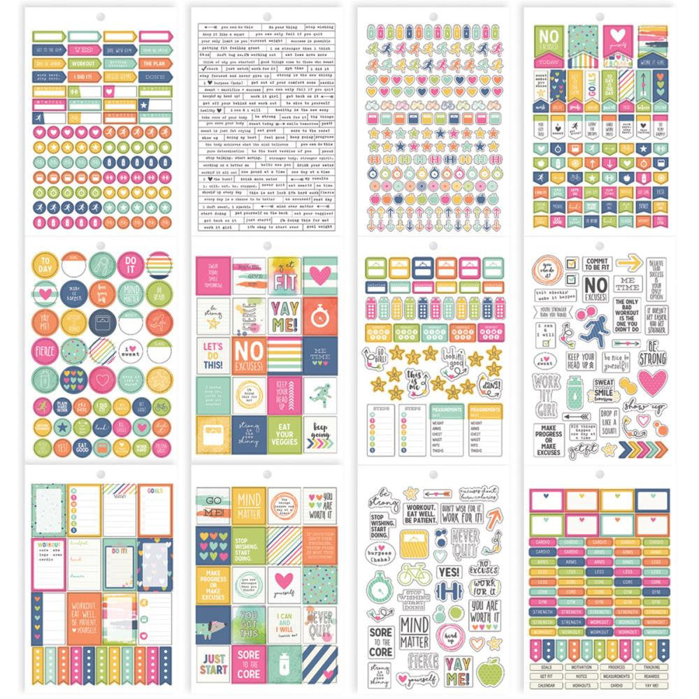 FITNESS Carpe Diem Planner Sticker Book, 803 planner stickers including Quotes, Boxes, Icons, Flags, Checklists, & Word Label Stickers