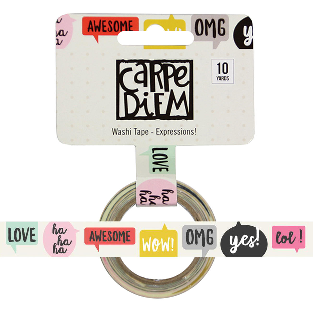Emoji Love EXPRESSIONS Carpe Diem Washi Tape, 15mm x 10 yards