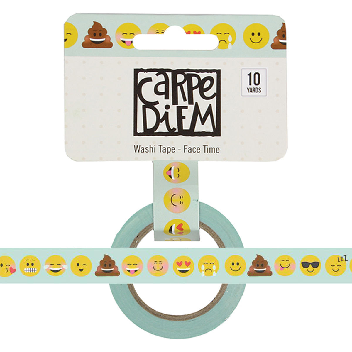 Emoji Love FACE TIME Carpe Diem Washi Tape, 15mm x 10 yards