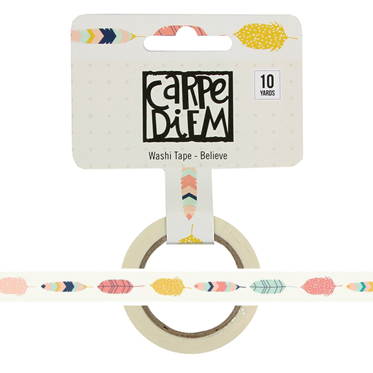 BELIEVE Feathers Carpe Diem Faith Washi Tape, 15mm x 10 yards