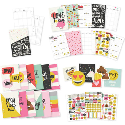 Carpe Diem Emoji Love complete 12 Month A5 Planner Insert Set including dividers, stickers, & more