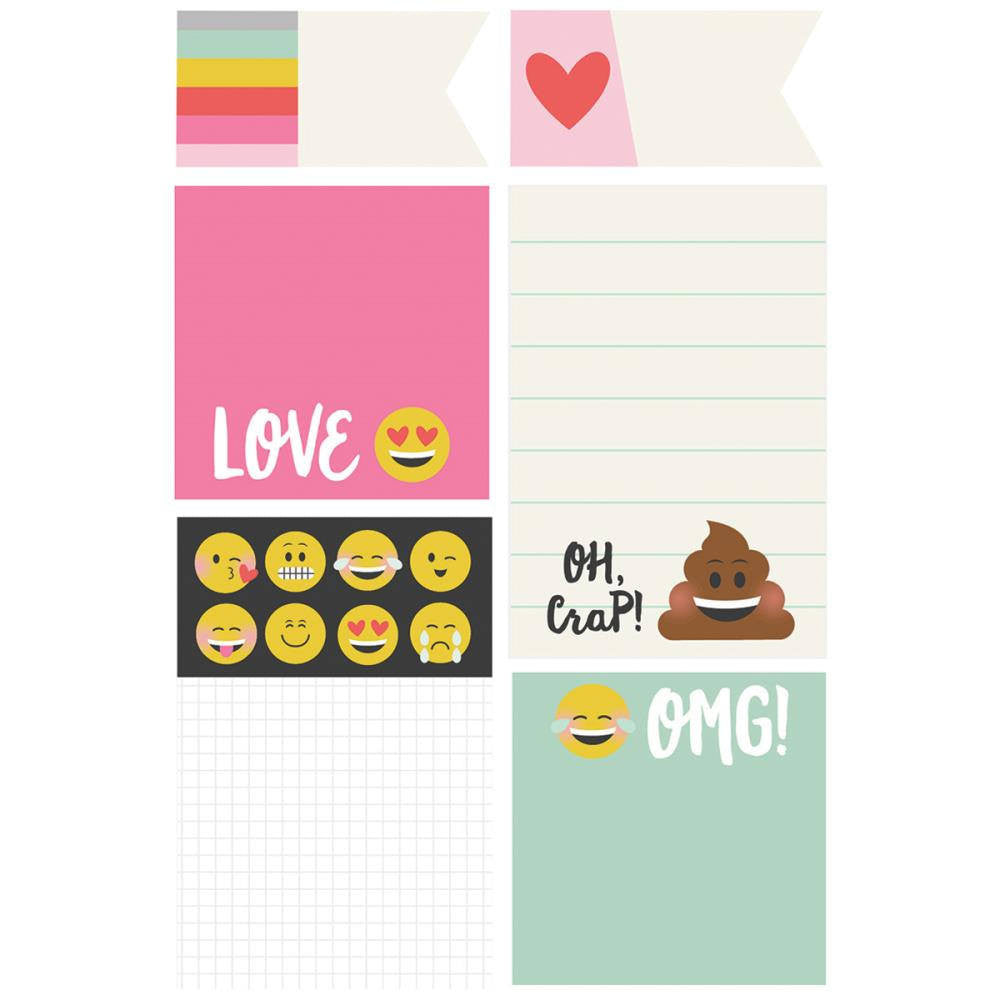 Carpe Diem Planner EMOJI LOVE STICKY Notes, 6 designs on punched A5 storage sheet