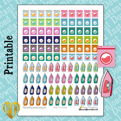 Laundry & Iron Printable Planner Stickers