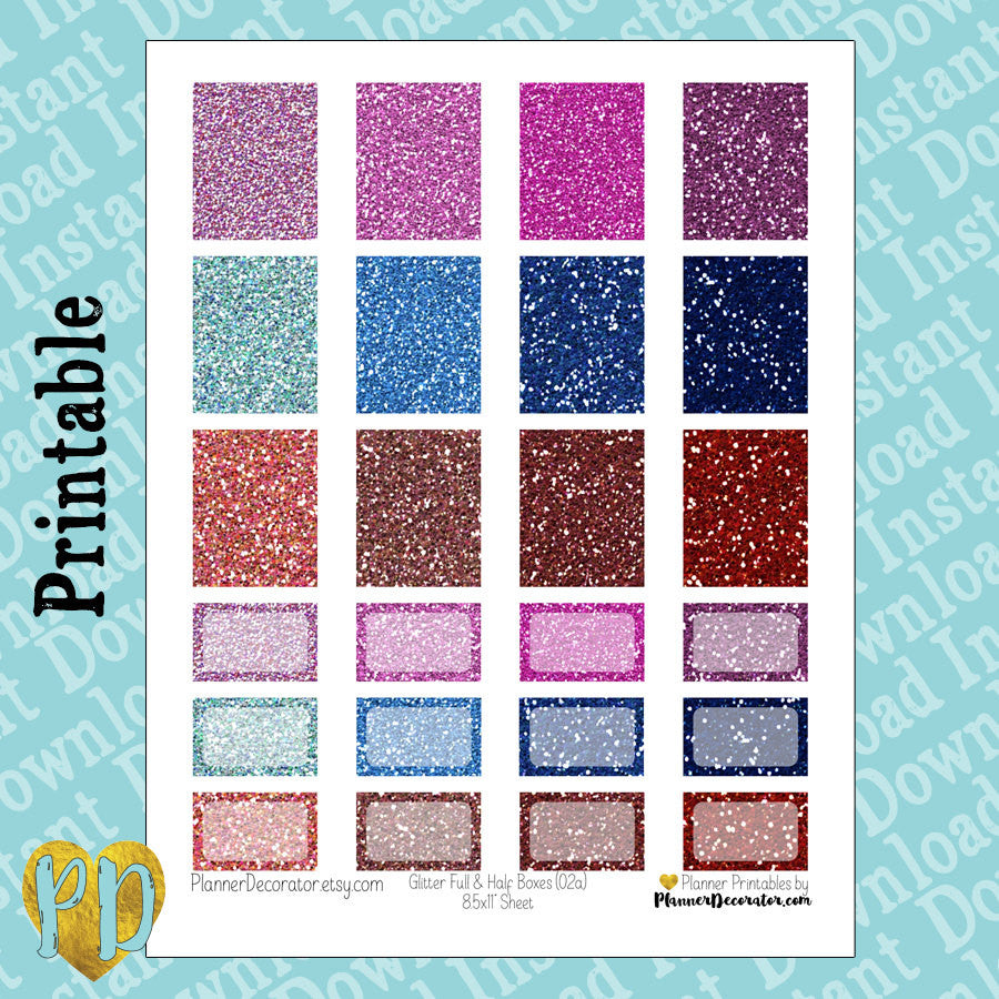 GLITTER Printable Planner Stickers, Full Box & Half Box in pink, blue, & red
