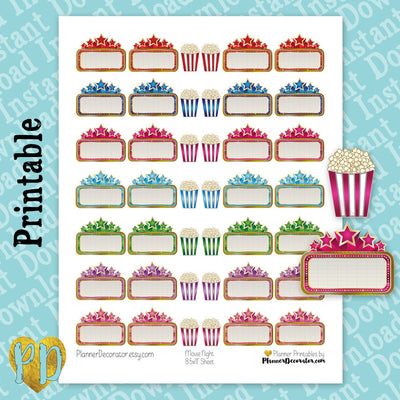 Movie Night Marquee & Popcorn Printable Planner Stickers