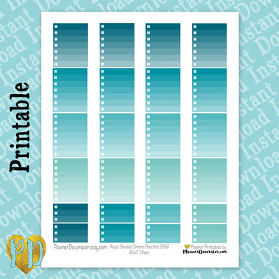 Aqua Blue Ombre Checklist Full & Half Box Printable Planner Stickers