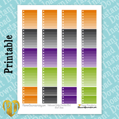 Halloween Purple & Green Ombre Checklist Printable Planner Stickers