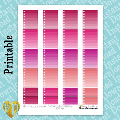 Pink Ombre Checklist Full & Half Box Printable Planner Stickers