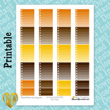 Fall Brown & Yellow Ombre Full & Half Box Checklist Printable Planner Stickers